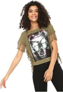 Camiseta Cropped My Favorite Thing(S) Franjas Verde