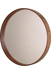 Espelho Redondo Com Moldura Em Madeira 45,5Cm Imbuia