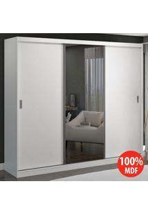 Guarda Roupa 3 Portas De Correr Com 1 Espelho 100% Mdf 774E1 Branco - Foscarini