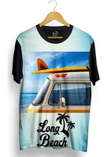 Camiseta Long Beach Kombi Sublimada Masculina - Masculino-Azul Claro+Preto