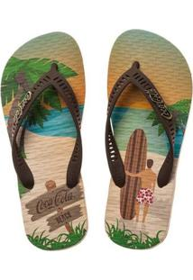 Chinelo Masculina Coca-Cola Beach Boy - Masculino-Marrom