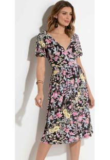 c46e7a180 Posthaus Vestido Midi Quintess Floral Barrado. Ir para a loja  Vestido  Quintess Floral Dark