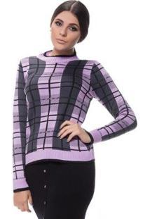 Blusa Tricot Logan Xadrez Design Clássico Feminina - Feminino-Lilás
