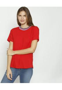 Blusa Com Fendas & Recortes- Vermelha & Lilã¡S- Colcccolcci