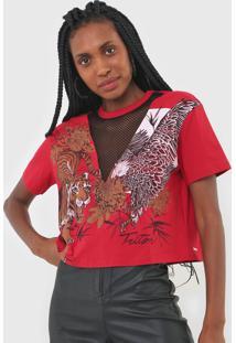 Camiseta Triton Recorte Tela Vermelha - Vermelho - Feminino - Algodã£O - Dafiti
