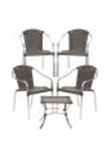 Jogo Cadeiras 4Un E Mesa De Centro Pinheiro Para Edicula Jardim Area Varanda Descanso - Pedra Ferro