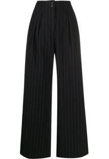 Paul Smith Calça Pantalona Risca De Giz - Preto