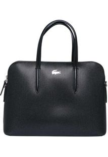 Bolsa Premium Em Couro- Preta- 23,5X34X10Cm- Laclacoste