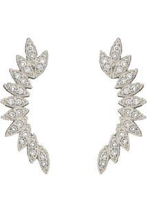 Brinco Ear Cuff Folhas Ródio Branco - Feminino-Dourado