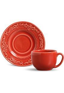 Xícara De Chá Acanthus Cerâmica 6 Peças Vermelho Porto Brasil