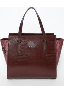 Bolsa Em Couro Texturizado Com Tag- Bordô- 23,5X33X1Iódice