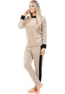 Pijama Longo De Plush Aveludado Dulmar - Feminino-Areia