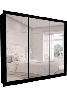 Guarda-Roupa Casal Com 3 Espelhos Helena 3 Pt 6 Gv Preto 277 Cm