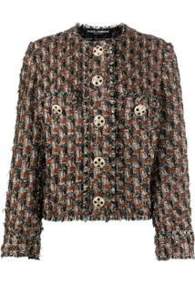 Dolce & Gabbana Jaqueta De Tweed Com Botões E Barra Desfiada - Marrom