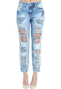Calça Jeans Reta Destroyed Cory Colcci 40 - Calça Jeans Reta Destroyed Colcci 40