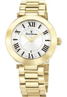 Relógio Analógico Jv06855- Dourado & Branco- Jean Vejean Vernier