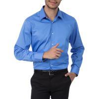 Camisa Social Masculina Upper Azul Lisa Camisaria Colombo aa4681e6030