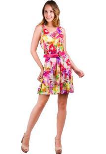 Vestido Banna Hanna De Visco Digital Nadador Floral Vermelho/Amarelo/Roxo/V - Feminino-Floral