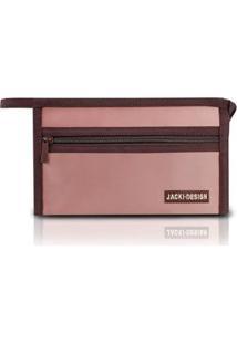 Necessaire Envelope Jacki Design Em Tecido Grande - Unissex-Rosa