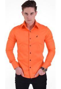 Camisa Social Masculina Super Slim - Masculino-Laranja