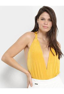 Body Carmim Gola V Costas Cruzadas Feminino - Feminino-Amarelo