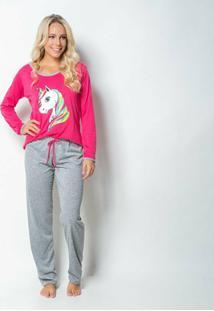 Pijama Click Chique Manga Longa - Feminino-Pink
