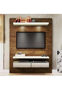 Home Suspenso Para Tv Até 60 Polegadas 100% Mdf 2 Gavetas Com Espelho E Led Tb106E 180 X 140 X 40 Nobre/Off White - Dalla Costa