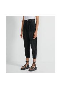 Calça Baggy Em Moletom Jeans Com Detalhe No Bolso Comfy   Blue Steel   Preto   38
