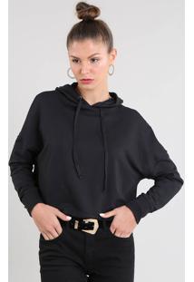 Blusão Feminino Cropped Em Moletom Com Capuz E Cadarço Preto