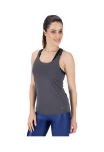 Camiseta Regata Oxer Elástico Jacquard - Feminina - Cinza Escuro