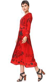 Vestido Desigual Midi Clam Vermelho