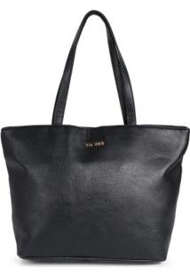 Bolsa Shopping Bag Via Uno Preto Preto