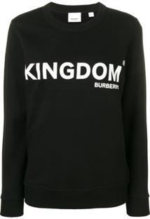 Burberry Blusa De Moletom Com Estampa Kingdom - Preto