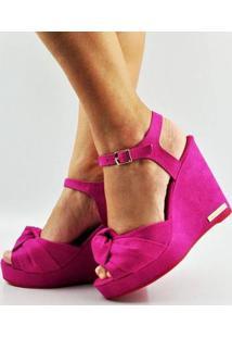 Sandália Antônia Domingues Anabela Salto Alto Nó - Feminino-Pink