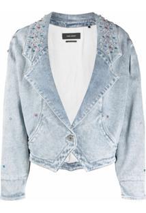 Isabel Marant Jaqueta Jeans Com Aplicação De Tachas - Azul