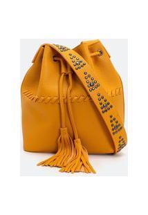 Bolsa Bucket Com Tachas | Satinato | Amarelo | U