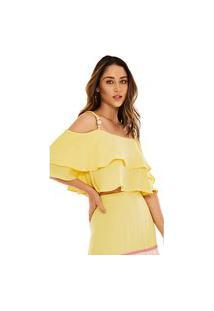 Blusa Morena Rosa Decote Quadrado Alça Com Babado Amarelo