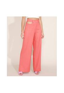 Calça Feminina Pantalona Cintura Alta Cut Out Com Linho Laranja