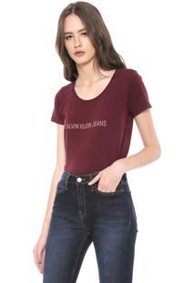 Camiseta Calvin Klein Jeans Logo Bordô