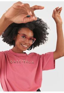 Camiseta Colcci Lettering Rosa - Kanui