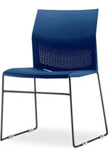 Cadeira Connect Assento Azul Base Fixa Preta - 53757 Sun House
