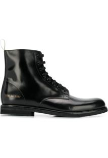 Common Projects Ankle Boot Com Amarração - Preto