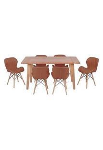 Conjunto Mesa De Jantar Em Madeira 150X80 Vértice + 6 Cadeiras Slim - Marrom