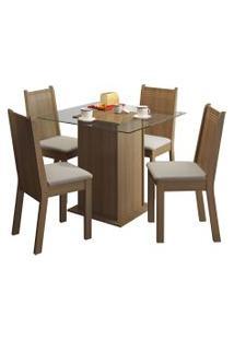 Sala De Jantar Madesa Base De Madeira Com Tampo De Vidro E 4 Cadeiras Lucy - Rústico E Pérola Marrom