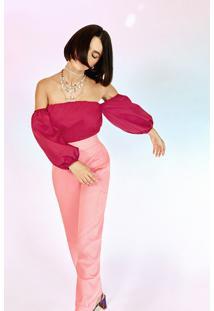 Blusa Feminina Manu Gavassi Ombro A Ombro Manga Bufante Pink