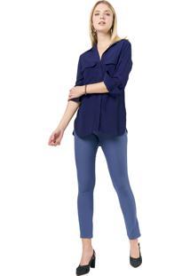 Camisa Crepe Mx Fashion Luíza Azul Marinho