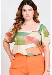 Blusa Decote Quadrado Almaria Plus Size New Umbi E