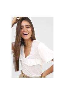Camiseta Open Style Babado Off-White