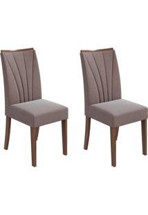 Conjunto De Cadeiras De Jantar 2 Apogeu Veludo Imbuia E Chocolate