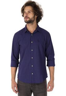 Camisa Side Walk Camisa Quadriculado Contraste Azul Marinho